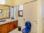 Bathroom attached to the 1st bedroom on the first floor with free amenities