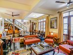 The living area furnished in Kashmiri style interiors in this vacation home in Bhimtal