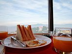 Have a healthy morning breakfast while you enjoy the views of the valley ahead