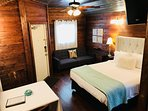 Tiny House 3 with queen bed, futon, kitchenette, TV and private bath