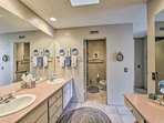 The master en-suite offers a double vanity.