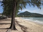 Kamala Beach,  there is a free shuttle to up and down the beach.