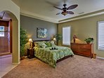You're ensured peaceful slumbers on the plush king bed in the master.