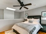 Loft bedroom with queen bed, ensuite bathroom and attached study