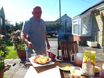Home made pizza on the patio
