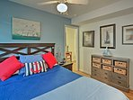 Two travelers will get a good night's rest in this downstairs master bedroom.