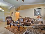 Sit back and relax under the cool ceiling fan.