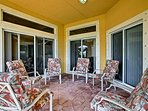 Enjoy the fresh air on the covered patio.