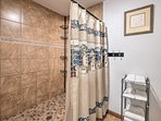 This large shower makes bathing easy and relaxing.