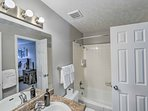 Stay clean in the shower/tub combo of this en-suite bathroom!