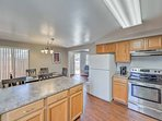 Ample counter space and updated appliances in this fully equipped kitchen.