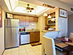 Newer kitchen appliances and granite counter tops.
