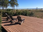 18' x 18' deck on beach path offers Adirondack chairs and fanastic sunsets