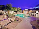 Huge private backyard with large heated pool.