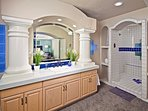 Stunning master bathroom with shower and soaking tub.