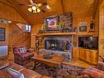A wood-burning fireplace creates a cozy atmosphere.