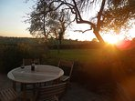 Relax on the rear patio with a glass of wine and see the sun set