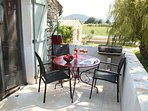 gite balcony with country views and BBq