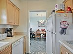 The kitchen comes fully equipped to handle your favorite recipes.