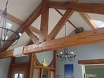 Lounge oak feature partition and beams