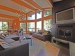 Flatscreen TV and fireplace