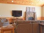Living room fireplace and flatscreen TV
