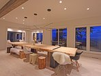 The dining room table is hand made from pine and has seating for up to 14