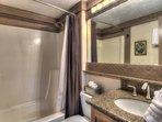 Granite countered bathroom