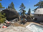 This hot tub and deck are at the top of 'The Rockpile'