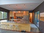Modern kitchen, all stainless steel appliances