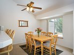 Sunny dining table with seating for six