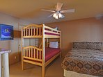 Downstairs guest bedroom: bunk beds and queen bed