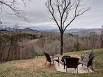 Fire pit with plenty of seating and great views of the Southern Appalachian Mountains