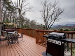 Expansive deck w/Long range and peaceful views of the Southern Appalachian Mountains; grill, hot tub & more.