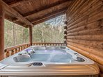 Hot tub from the cover of the porch without sacrificing terrific views