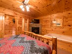 Bedroom 1, Main Level with electric fireplace, 2-person jetted tub, 42' HDTV