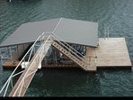 Deep water and open boat slip. Large swim platform for sun bathing and swimming.