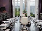 The formal dining room can host a banquet