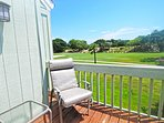 The deck off the master bedroom has great views of the fairway.