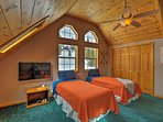 Kids will love this unique bunk room with a total of 5 twin-sized beds.