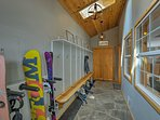 There's plenty of ski & snowboard storage in this airlock entry way.