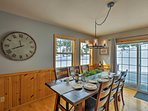 Home-cooked meals are ready to be served at this 6-person dining table.