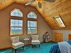 Wake up to view the Carson mountain ridgeline through the double windows.