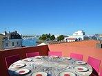 Terrasse vue panoramique sur les ports et les toits des Sables d'Olonne