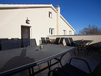 A shared terrace where our guest can enjoy a the sunset and a glass of Istrian wine.