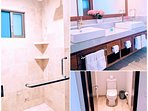 Master bath with private toilet, rain shower  and additional adjustable shower wand.