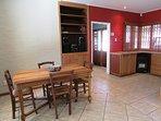 Open plan kitchen, dining room