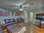 There's plenty of room for everyone on this sizable sectional sofa.
