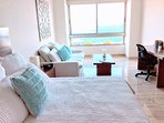 Ocean view master suite with king size bed, comfortable high end Euro mattress and ensuite