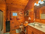 Make use of the full bathroom in the cabin.